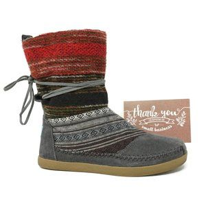 Toms Nepal Moccasin Knit Mid Boots Size 6